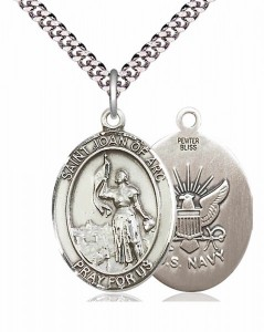 Men's Pewter Oval St. Joan of Arc Navy Medal [BLPW074]