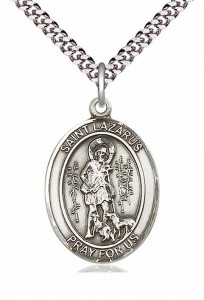 Men's Pewter Oval St. Lazarus Medal [BLPW087]