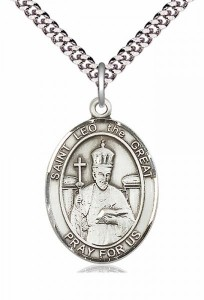 Men's Pewter Oval St. Leo the Great Medal [BLPW150]
