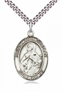 Men's Pewter Oval St. Maria Goretti Medal [BLPW214]