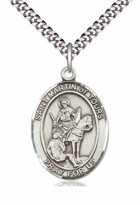 Men's Pewter Oval St. Martin of Tours Medal [BLPW207]