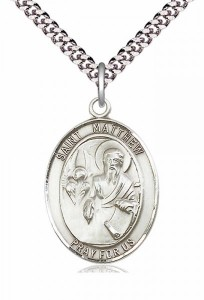 Men's Pewter Oval St. Matthew the Apostle Medal [BLPW095]