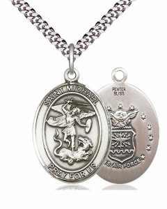 Men's Pewter Oval St. Michael Air Force Medal [BLPW098]