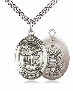 Men's Pewter Oval St. Michael Army Medal [BLPW100]