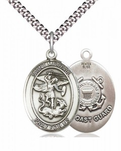 Men's Pewter Oval St. Michael Coast Guard Medal [BLPW101]