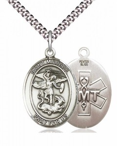 Men's Pewter Oval St. Michael EMT Medal [BLPW099]
