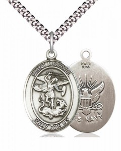 Men's Pewter Oval St. Michael Navy Medal [BLPW103]