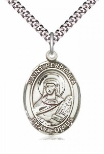 Men's Pewter Oval St. Perpetua Medal [BLPW271]