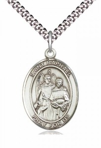 Men's Pewter Oval St. Raphael the Archangel Medal [BLPW120]