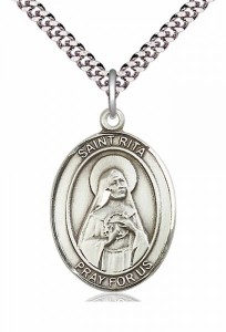 Men's Pewter Oval St. Rita of Cascia Medal [BLPW122]