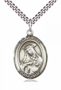 Men's Pewter Oval St. Rose of Lima Medal [BLPW123]