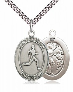 Men's Pewter Oval St. Sebastian Track and Field Medal [BLPW191]