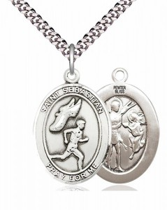 Men's Pewter Oval St. Sebastian Track and Field Medal [BLPW399]