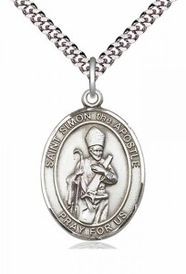 Men's Pewter Oval St. Simon Medal [BLPW367]