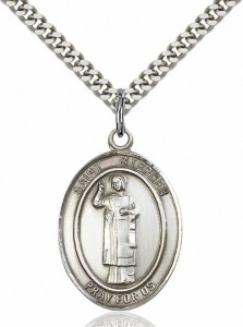 Men's Pewter Oval St. Stephen the Martyr Medal [BLPW131]