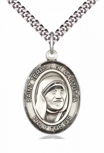 Men's Pewter Oval St. Teresa of Calcutta Medal [BLPW293]