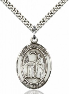 Men's Pewter Oval St. Valentine of Rome Medal [BLPW151]