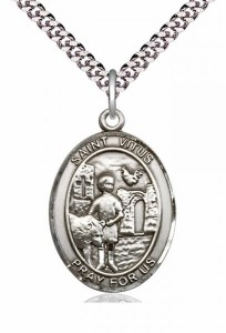 Men's Pewter Oval St. Vitus Medal [BLPW360]