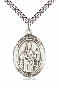 Men's Pewter Oval St. Walter of Pontnoise Medal [BLPW283]
