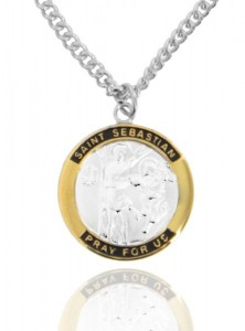 Men's Round Two-Tone Sterling Silver Saint Sebastian Medal [JCT0003]