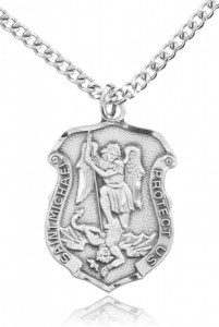 Men's Saint Michael Sterling Silver Police Shield Necklace with Chain Options [HMR2001]