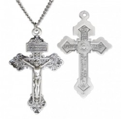 Men's Sterling Silver Behold This Heart Crucifix Pardon Necklace [HMR0803]