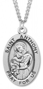 Men's Sterling Silver Oval Saint Anthony Necklace with Chain Options [HMR0872]