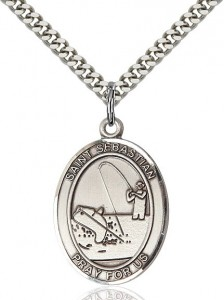 Men's Sterling Silver Oval St. Sebastian Fishing Medal [BL3011]