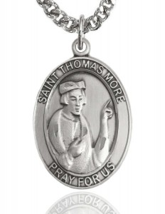 Men's Sterling Silver Oval St. Thomas More Medal [BL3793]