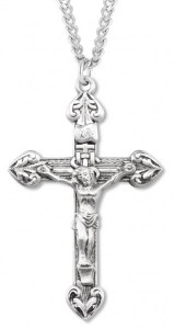 Men's Textured Heart Tip Crucifix Necklace, Sterling Silver with Chain Options [HMR0808]