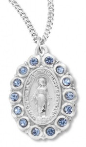 Women's Miraculous Necklace Oval with Blue Colored Stones Sterling Silver with Chain Options [HMR0933]