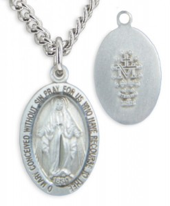 Child Size Sterling Silver Miraculous Pendant + 13 Inch Rhodium Plated Chain & Clasp [HMR0587]