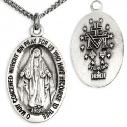 Youth Oval Sterling Silver Miraculous Pendant + 16 Inch Rhodium Plated Chain & Clasp [HMR0588]