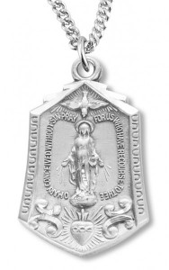 Women's Sterling Silver Hexagon Miraculous Immaculate Heart Necklace with Chain Options [HMR0628]