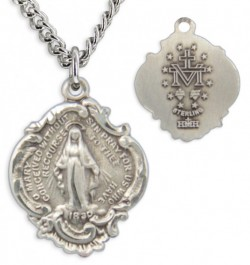 Women's Small Sterling Silver Miraculous Necklace Baroque Style with Chain Options [HMR0621]