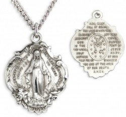 Hail Mary Prayer Sterling Silver Necklace with Chain Options [HMR0626]