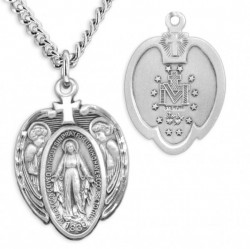Men's Sterling Silver Miraculous Heart Necklace with Angel Wings and Cross with Chain Options [HMR0868]