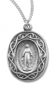 Women's Sterling Silver Miraculous Necklace with Crown of Thorns Border with Chain Options [HMR0622]