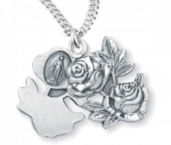 Miraculous Necklace with Large Triple Slide Rose, Sterling Silver with Chain [HMR0941]