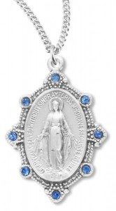 Women's Miraculous Necklace with Light Sapphire Stones with Chain Options [HMR0937]