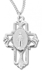 Women's Miraculous Necklace with Pierced Cross, Sterling Silver with Chain Options [HMR0940]