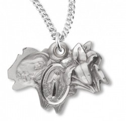 Miraculous Necklace with Triple Slide Lilly, Sterling Silver with Chain [HMR0943]