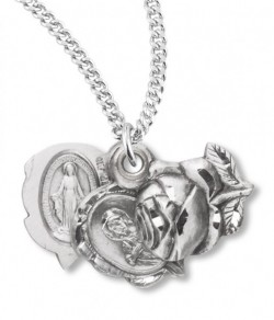Miraculous Necklace with Triple Slide Rose, Sterling Silver with Chain [HMR0942]