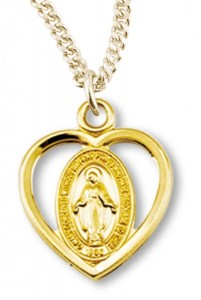 Girl's 14kt Gold Over Sterling Silver Heart Cut Out Miraculous Necklace + 16 Inch Gold Plated Chain & Clasp [HMR0449]