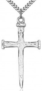 Large Nail Cross Pendant, Sterling Silver [BL4151]