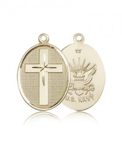 Navy Cross Pendant, 14 Karat Gold [BL4838]