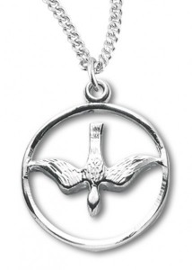 Women's Sterling Silver Open Circle Descending Dove Necklace with Chain Options [HMR0720]