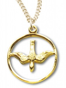 Women's 14kt Gold Over Sterling Silver Cut Out Open Circle Dove Necklace + 18 Inch Gold Plated Chain & Clasp [HMR0405]