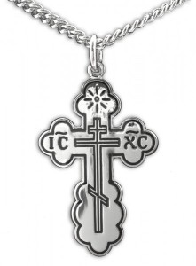 Women or Teen Orthodox Cross Necklace, Sterling Silver with Chain [HMR0994]
