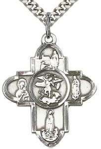 Our Lady 5 Way Cross Pendant, Sterling Silver [BL6525]